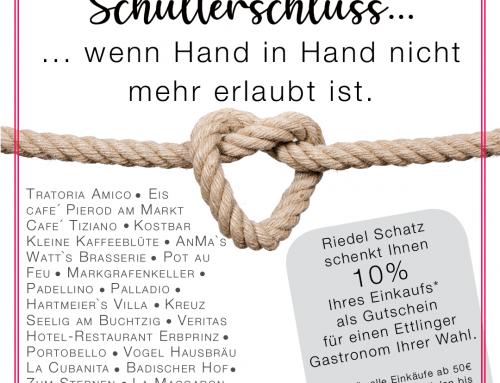 Riedel Schatz spendet 10% seines Umsatzes an die Ettlinger Gastronomen.